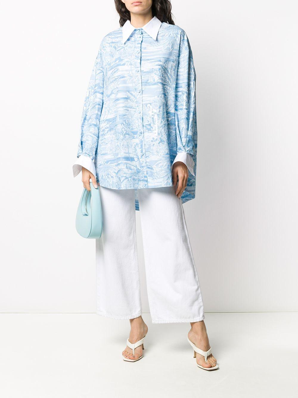 Light-blue and white cotton tropical-print oversized shirt  BROGNANO |  | 28BR2E04R-20429380