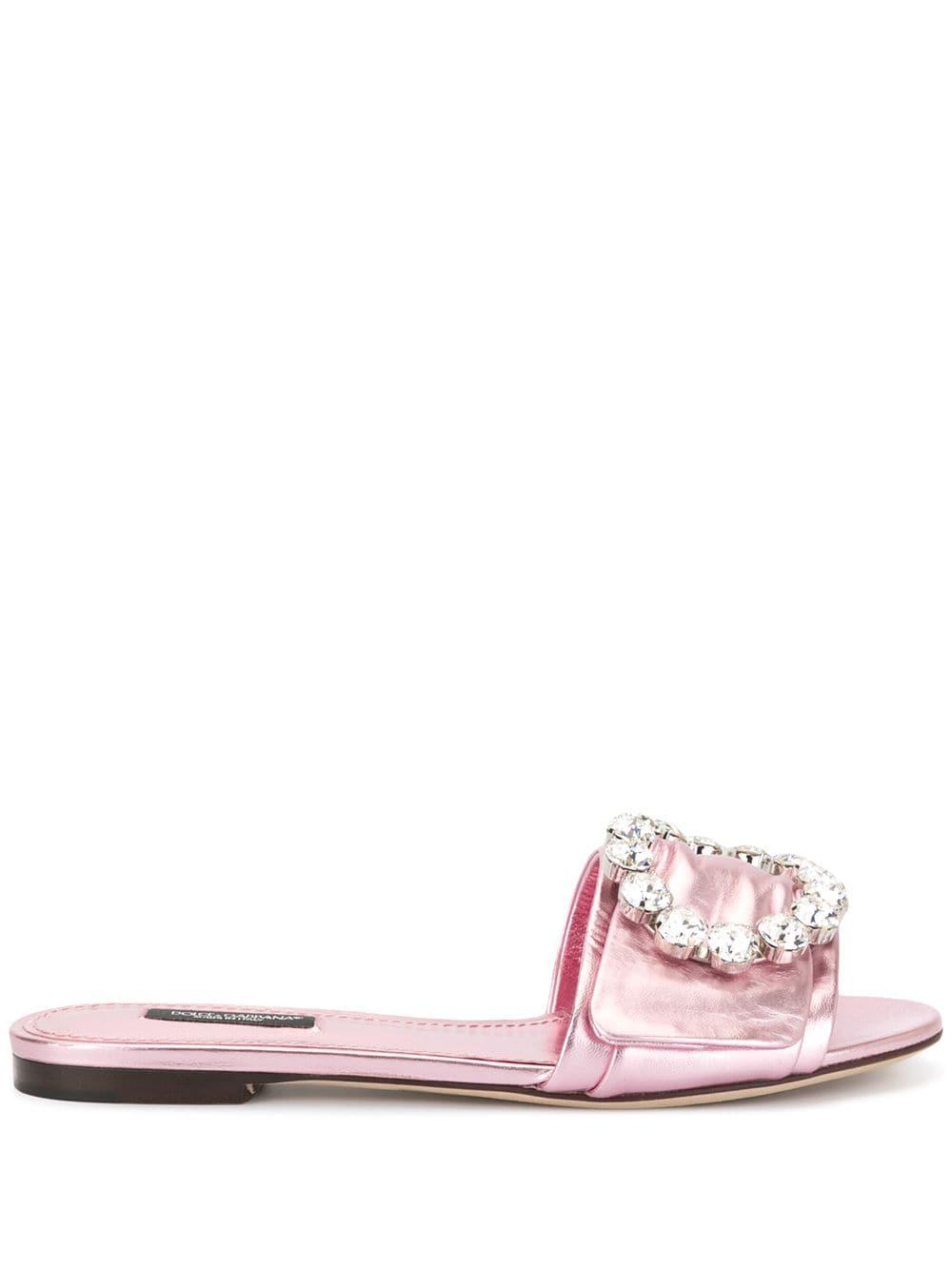 sandalo a ciabatta in rosa lucido con applicazione di cristalli swarovski sulla fascia frontale DOLCE & GABBANA | Scarpa | CQ0291-A10168H463