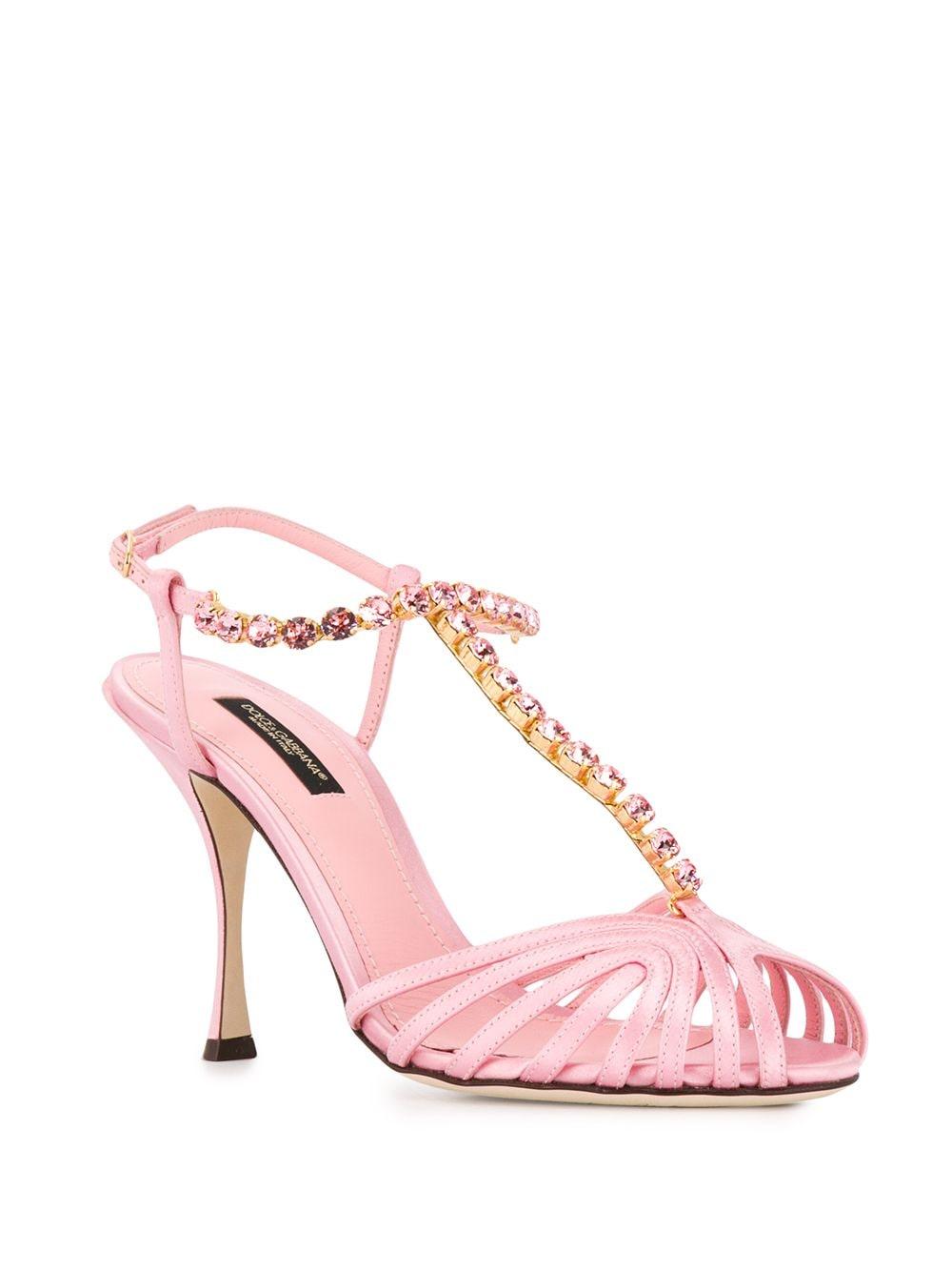 sandalo in raso e pelle rosa con cinturino a T e tacco 100 DOLCE & GABBANA | Scarpa | CR0963-A763087141