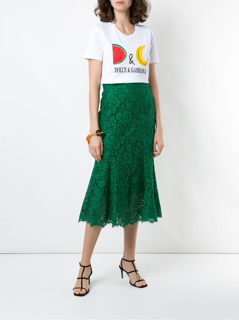 gonna in pizzo media lunghezza verde smeraldo con chiusura a zip DOLCE & GABBANA | Gonne | F4BT8T-HLMIJV0237