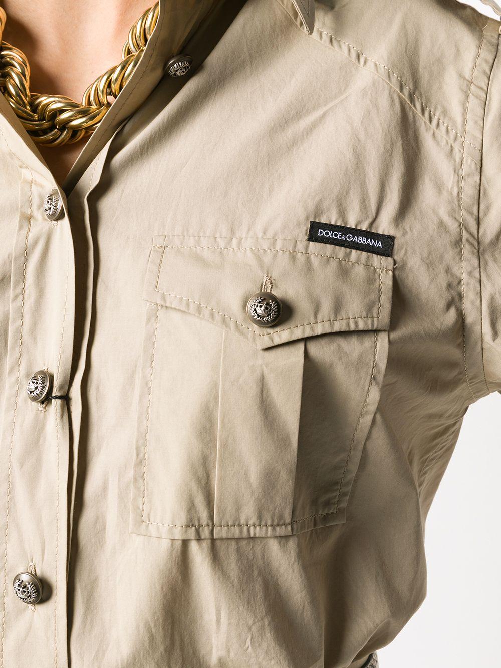 camicia in cotone stile safari con eupalette sulle spalle e bottoni iconici DOLCE & GABBANA | Camicie | F5M03T-FU5K9M0208