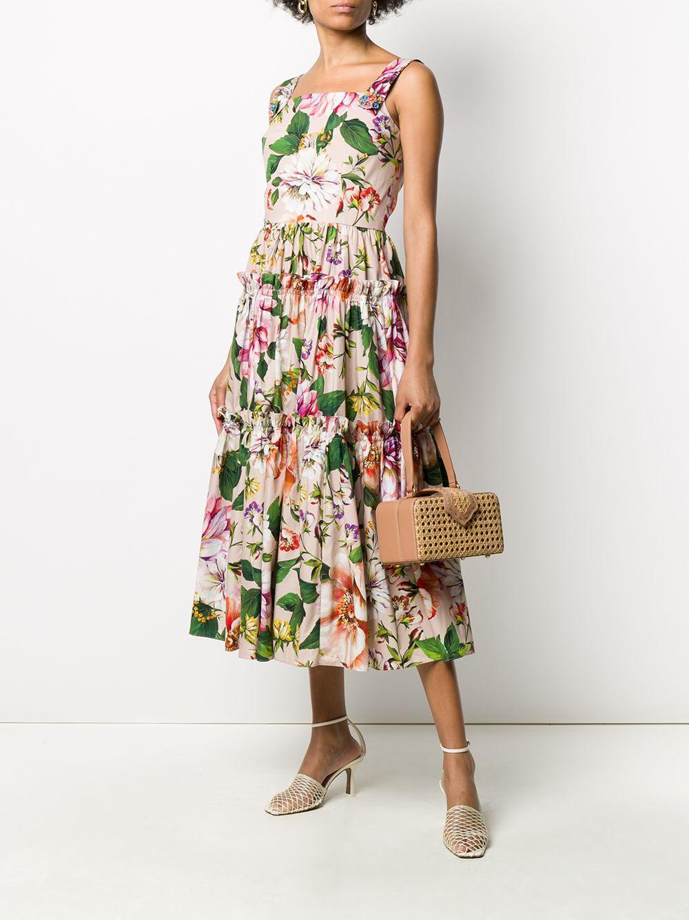 multicolored cotton floral print pleated sleveless long dress DOLCE & GABBANA |  | F6H5RT-HS5F8HF1AJ