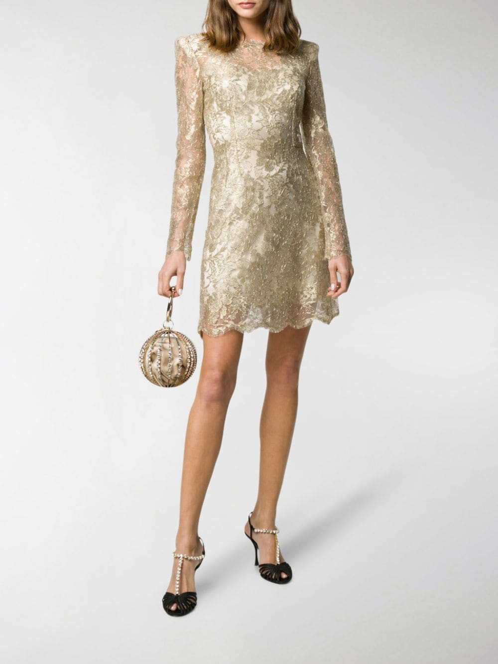 gold tone floral lace short dress DOLCE & GABBANA |  | F6H8BT-HLM02S0997
