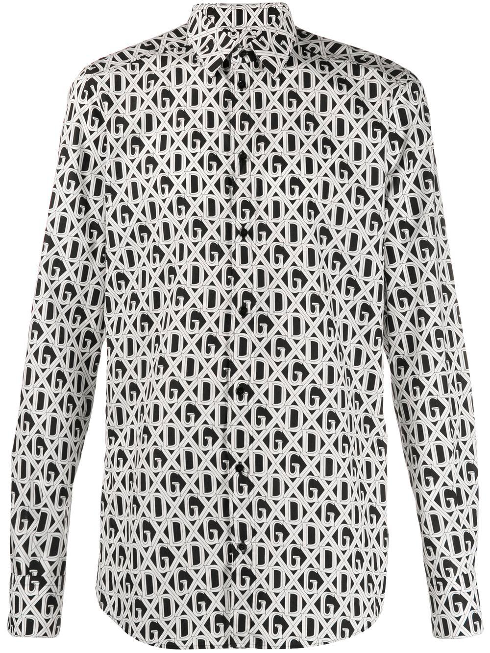 camicia in cotone bianco e nero con stampa logomania DG DOLCE & GABBANA   Camicie   G5EJ0T-HS5FUHN67C