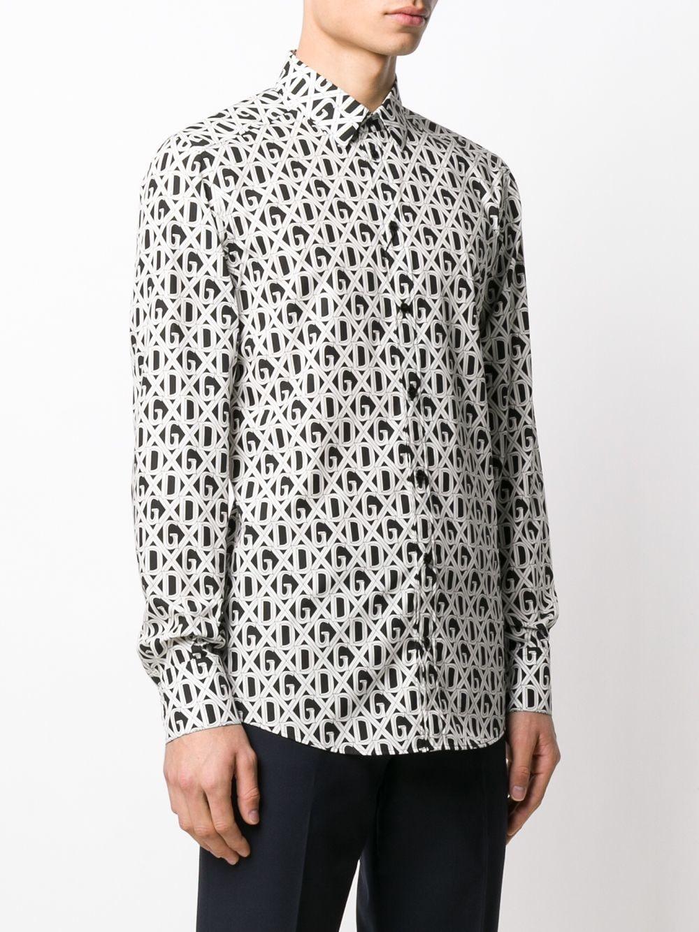 monogram black and white cotton shirt with diamond check logomania print  DOLCE & GABBANA |  | G5EJ0T-HS5FUHN67C