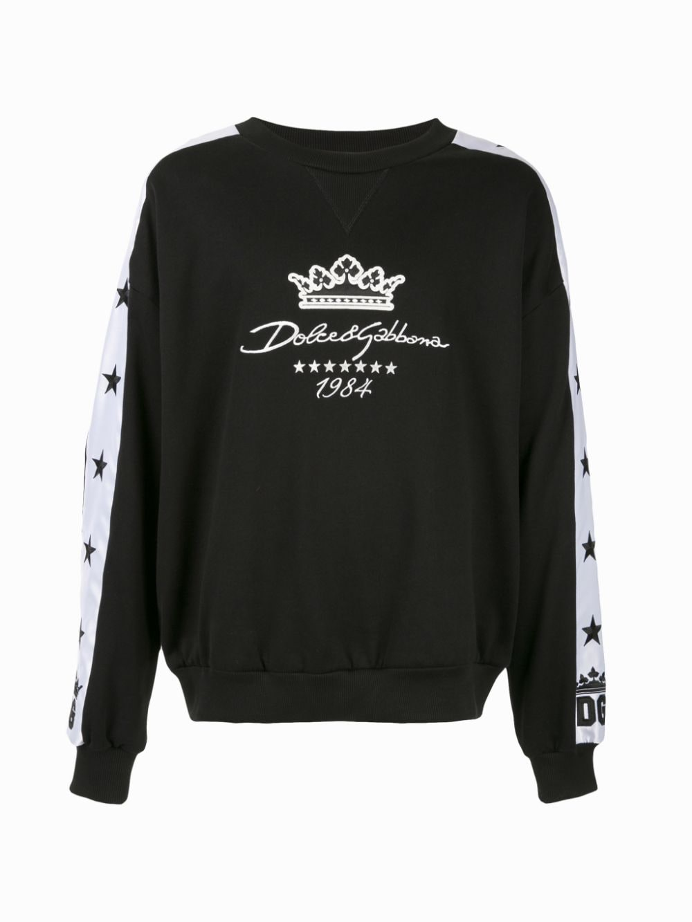 black cotton sweatshirt with white band details DOLCE & GABBANA |  | G9OI5Z-FU7DUN0000
