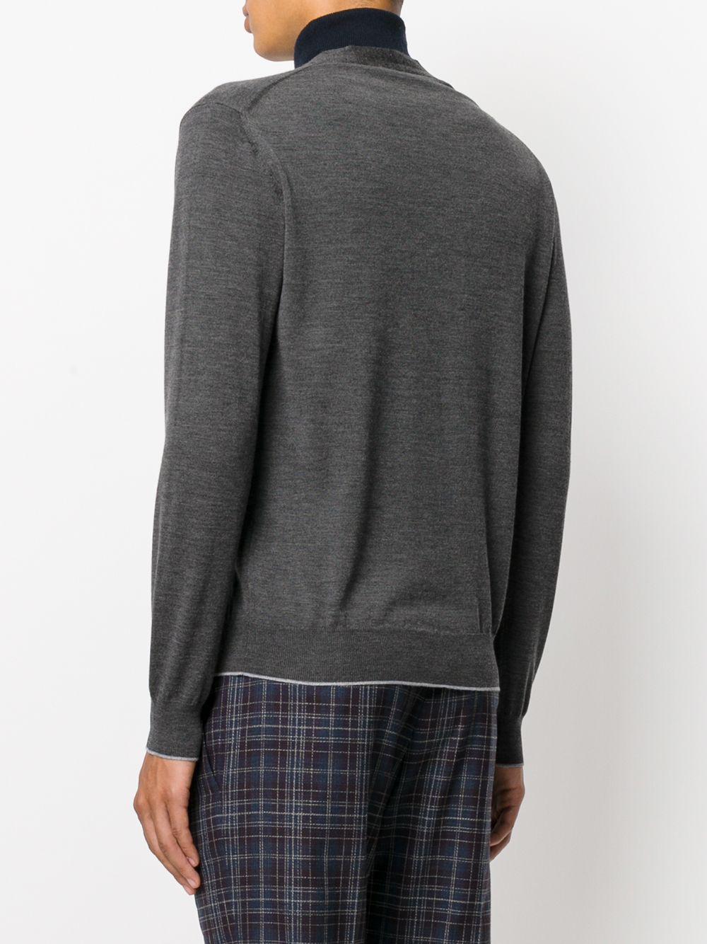 cardigan in lana merino e seta grigio scuro con scollo a V e bottoni ELEVENTY | Maglieria Moda | 979MA0195-MAG2400314