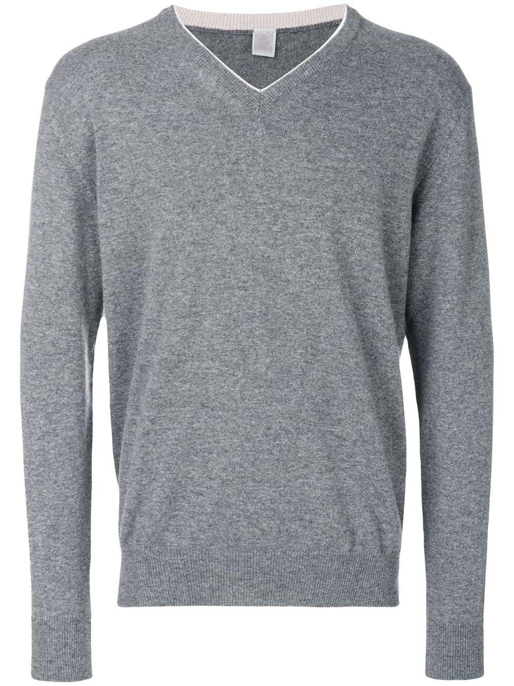 maglioncino di cachemere grigio scuro con scollo a V con dettaglio bianco ELEVENTY | Maglieria Moda | 979MA0205-MAG2400614
