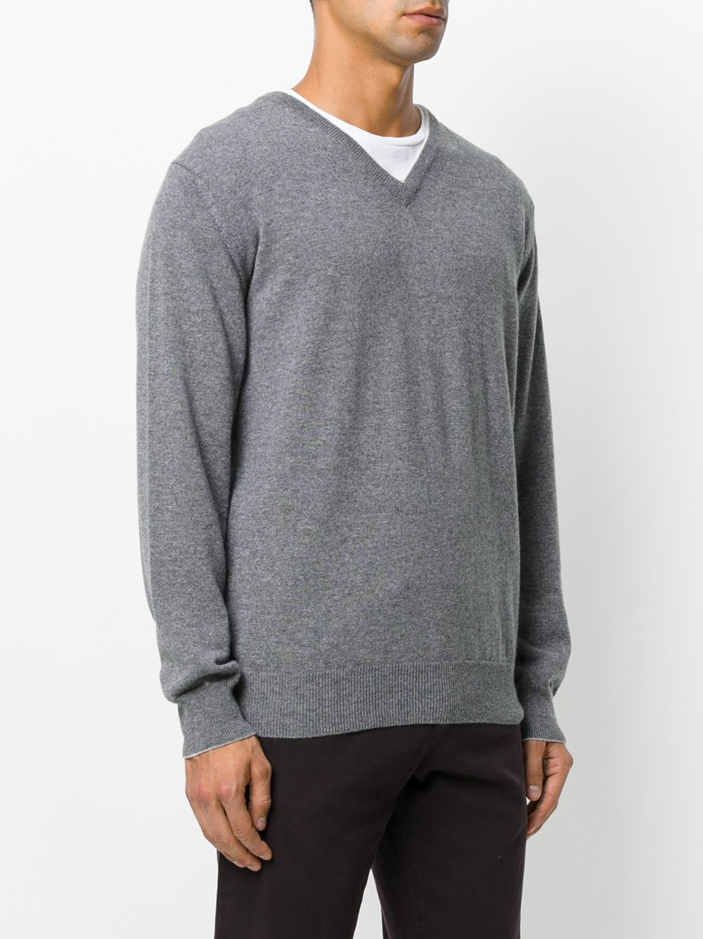 grey cachemere jumper with V-neck white detail ELEVENTY |  | 979MA0205-MAG2400614