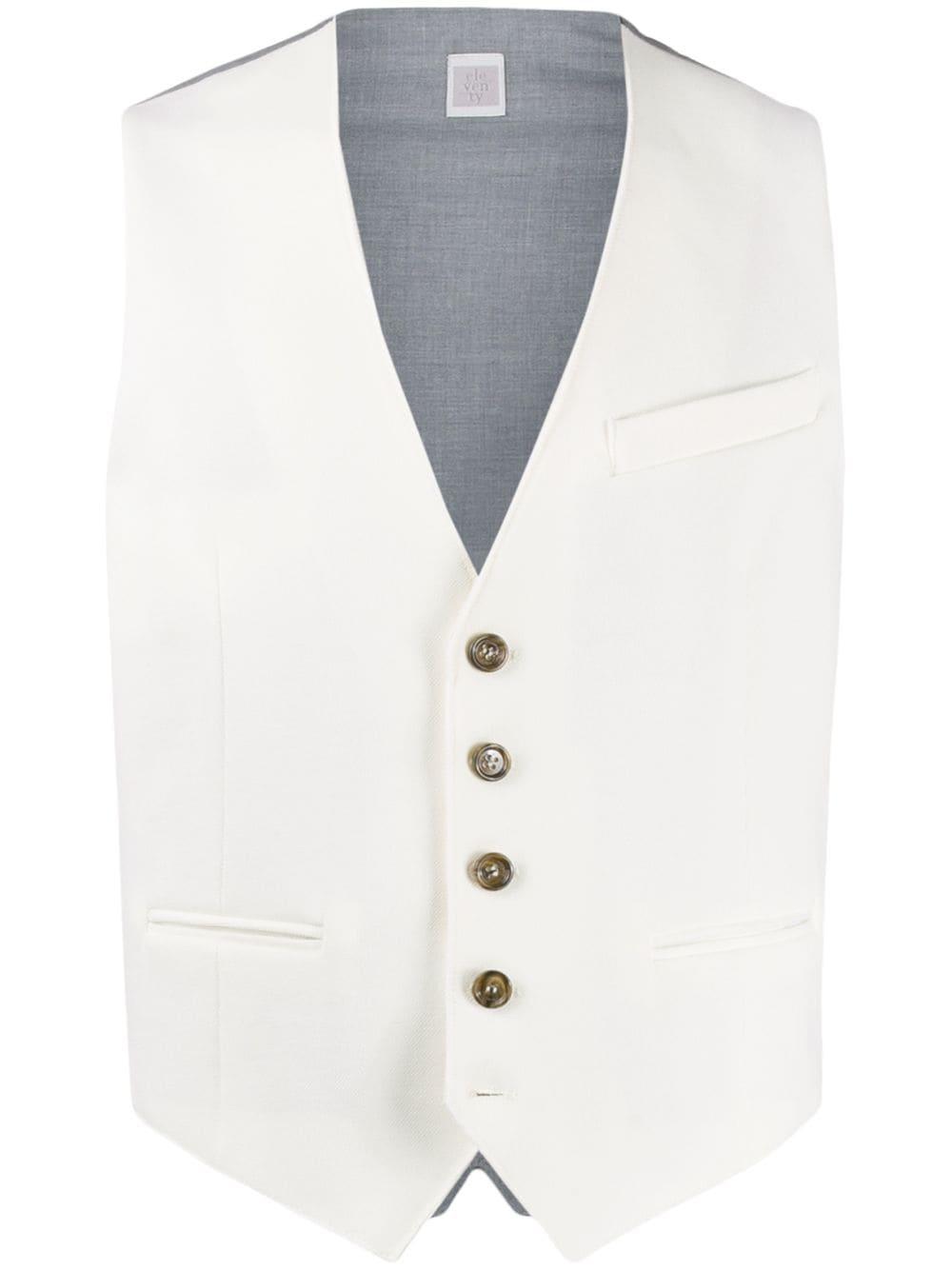 gilet bianco in cotone con bottoni dorati ELEVENTY | Gilet | A70GILA01-TES0A21101