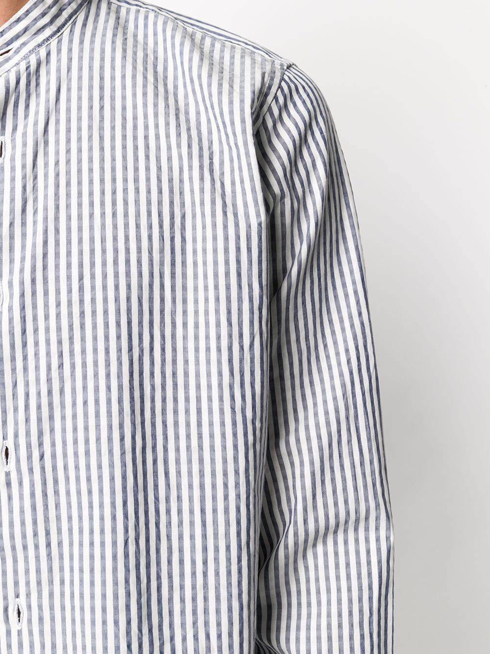 Camicia blu jeans a righe testurizzate in cotone con motivo a righe verticali ELEVENTY | Camicie | A75CAMA04-TES0A06408