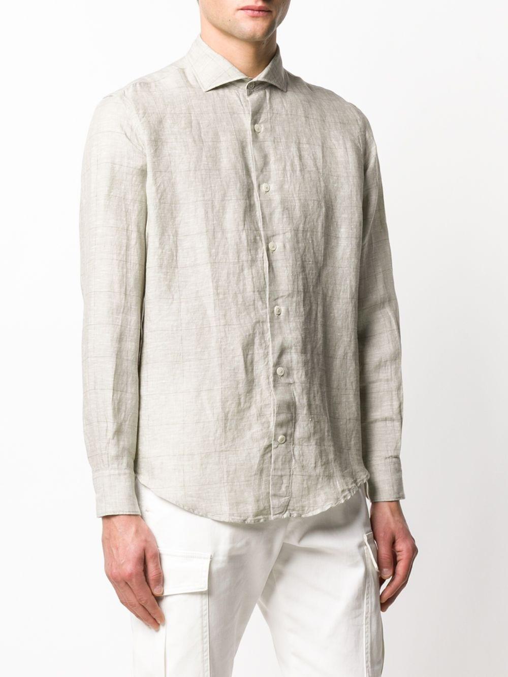 Camicia a quadri a maniche lunghe in lino beige ostrica con motivo a quadri ELEVENTY | Camicie | A75CAMA05-TES0A01402
