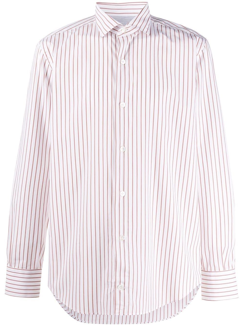 camicia con collo francese a righe in cotone bianco con stampa a righe rosse ELEVENTY | Camicie | A75CAMA18-TES0A19404