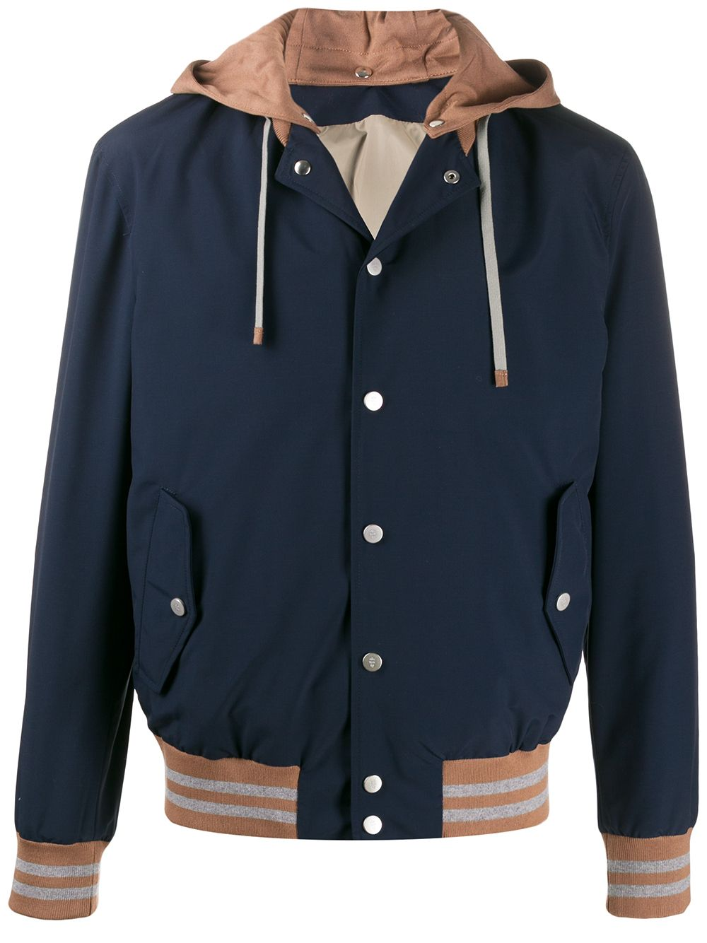 Blue cotton and wool blend two-tone hooded jacket  ELEVENTY      A75GBTA22-GBT270078200