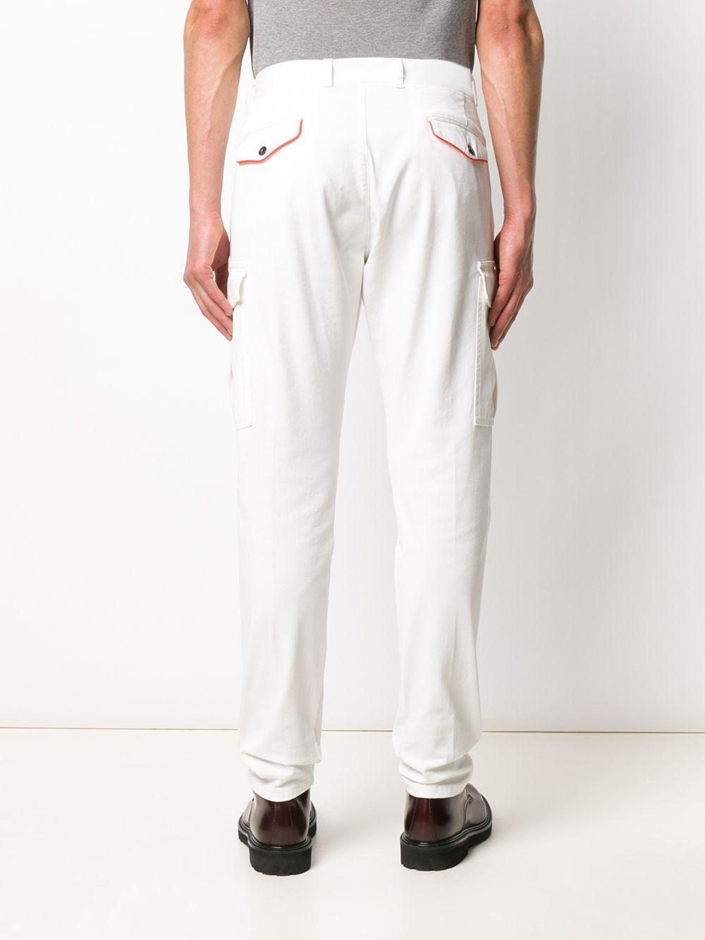 Pantaloni cargo bianchi con rifiniture in misto cotone ELEVENTY | Pantaloni | A75PANA03-TET0A00101
