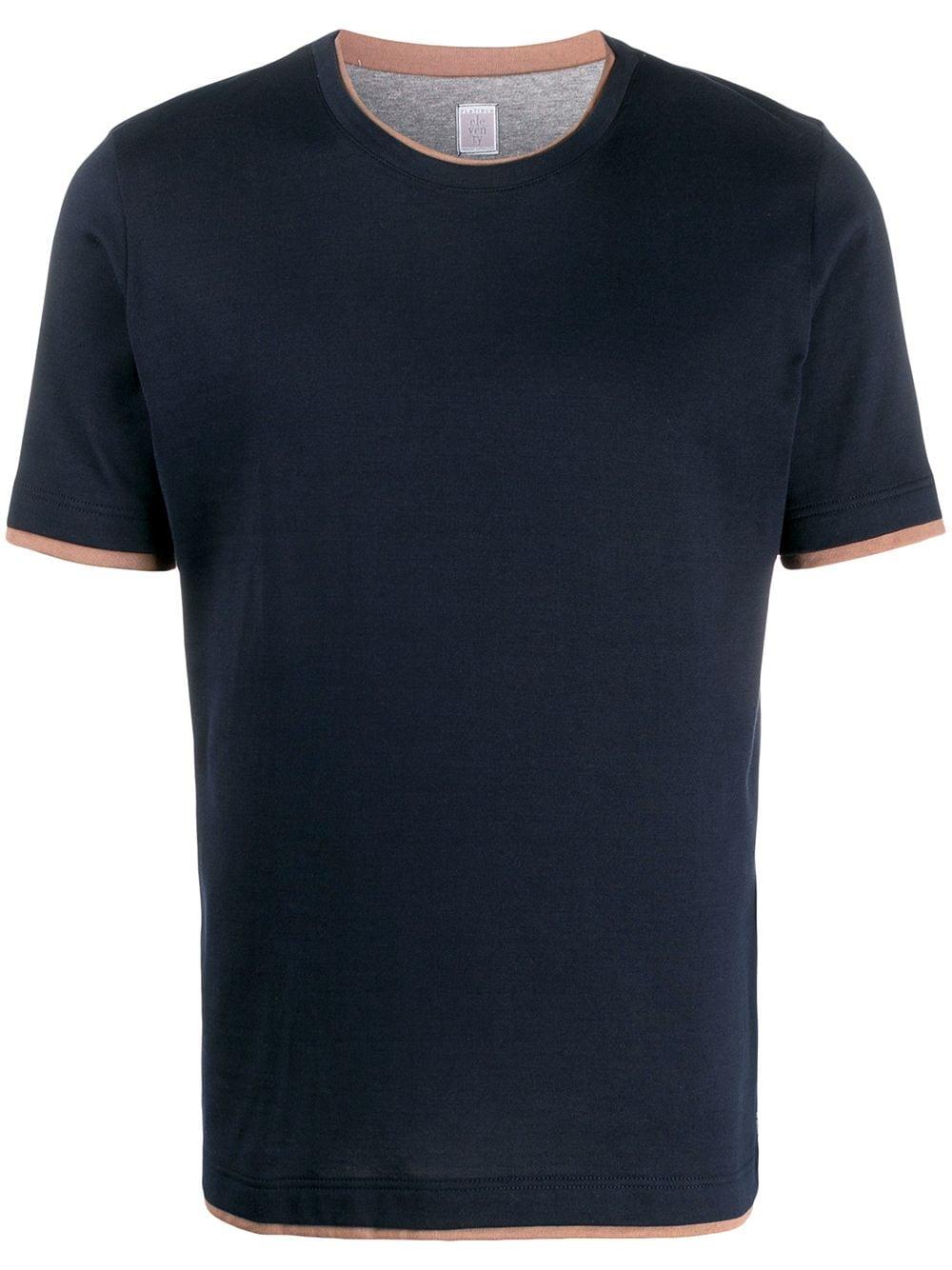 t-shirt in cotone effetto stratificato blu navy con design a strati ELEVENTY   Maglieria Moda   A75TSHA05-JER0A00611