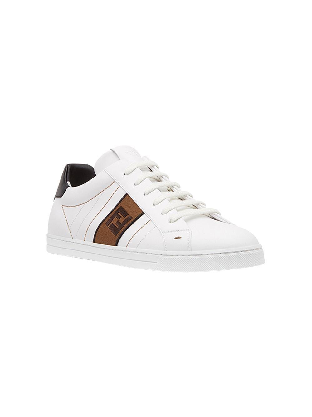 sneakers in pelle di vitello bianca con banda laterale con motivo Zucca FENDI | Scarpa | 7E1166-A3XLF13TH