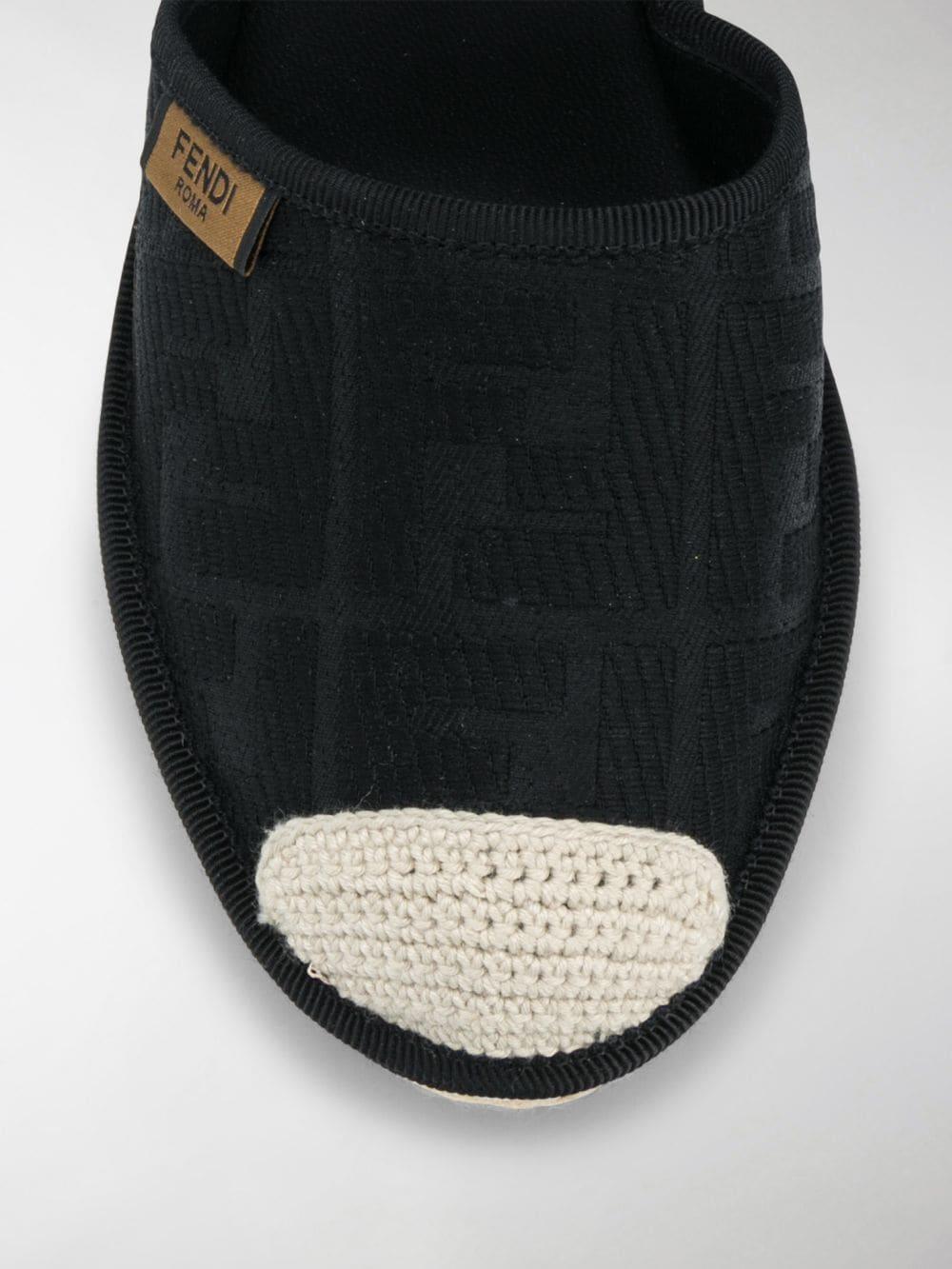 black cotton FF motif espadrilles  with high wedge heel FENDI      8V7072-ABN2F0ABB