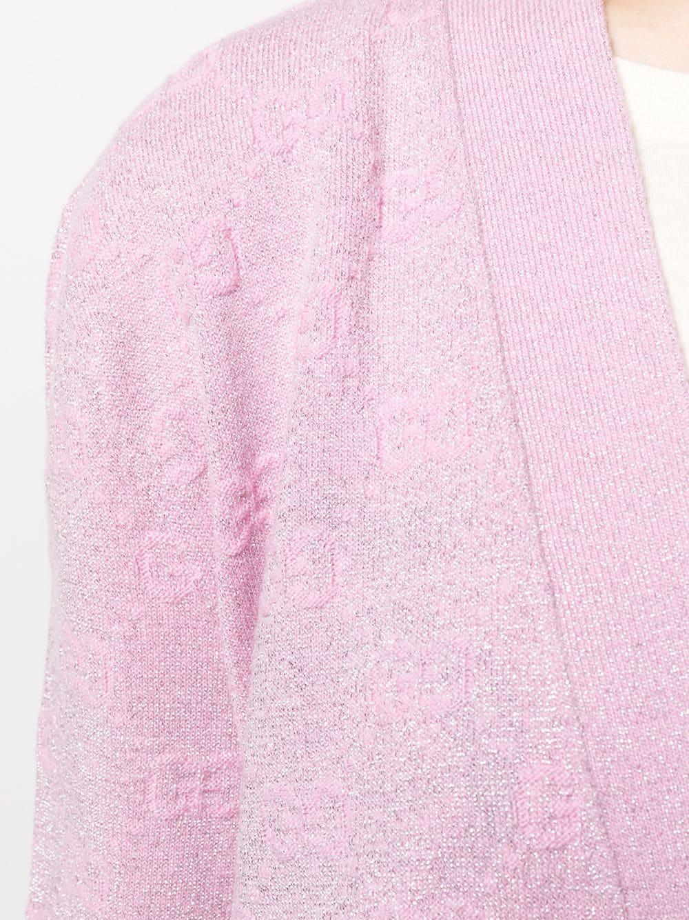 cardigan di lana rosa con logo Gucci all over GUCCI | Maglieria Moda | 599271-XKA5X5152