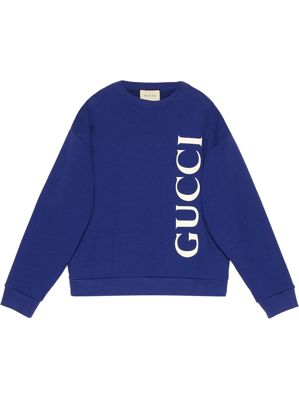 felpa blu oversize con logo Gucci verticale GUCCI | Maglieria Moda | 599345-XJB1C4118