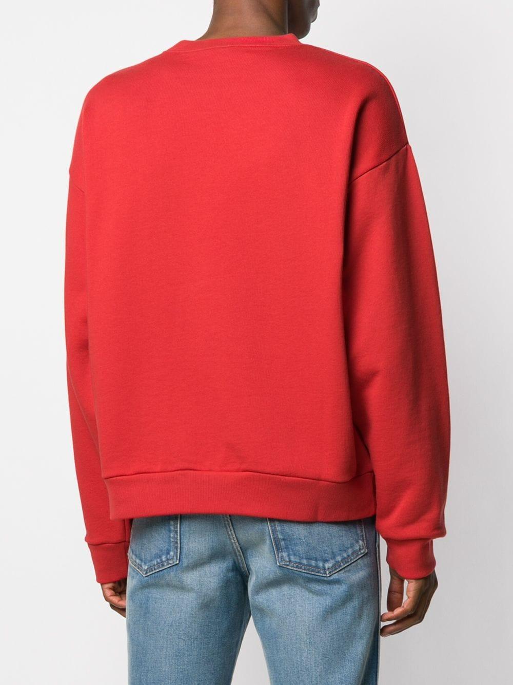 felpa di cotone rossa a maniche lunghe con logo Gucci verticale bianco GUCCI | Maglieria Moda | 599345-XJB1C6068