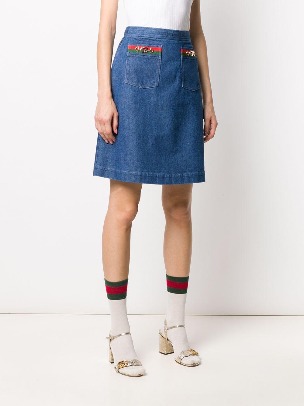 gonna di jeans media lunghezza con taschine e morsetto Gucci GUCCI | Gonne | 599373-XDA2Y4161