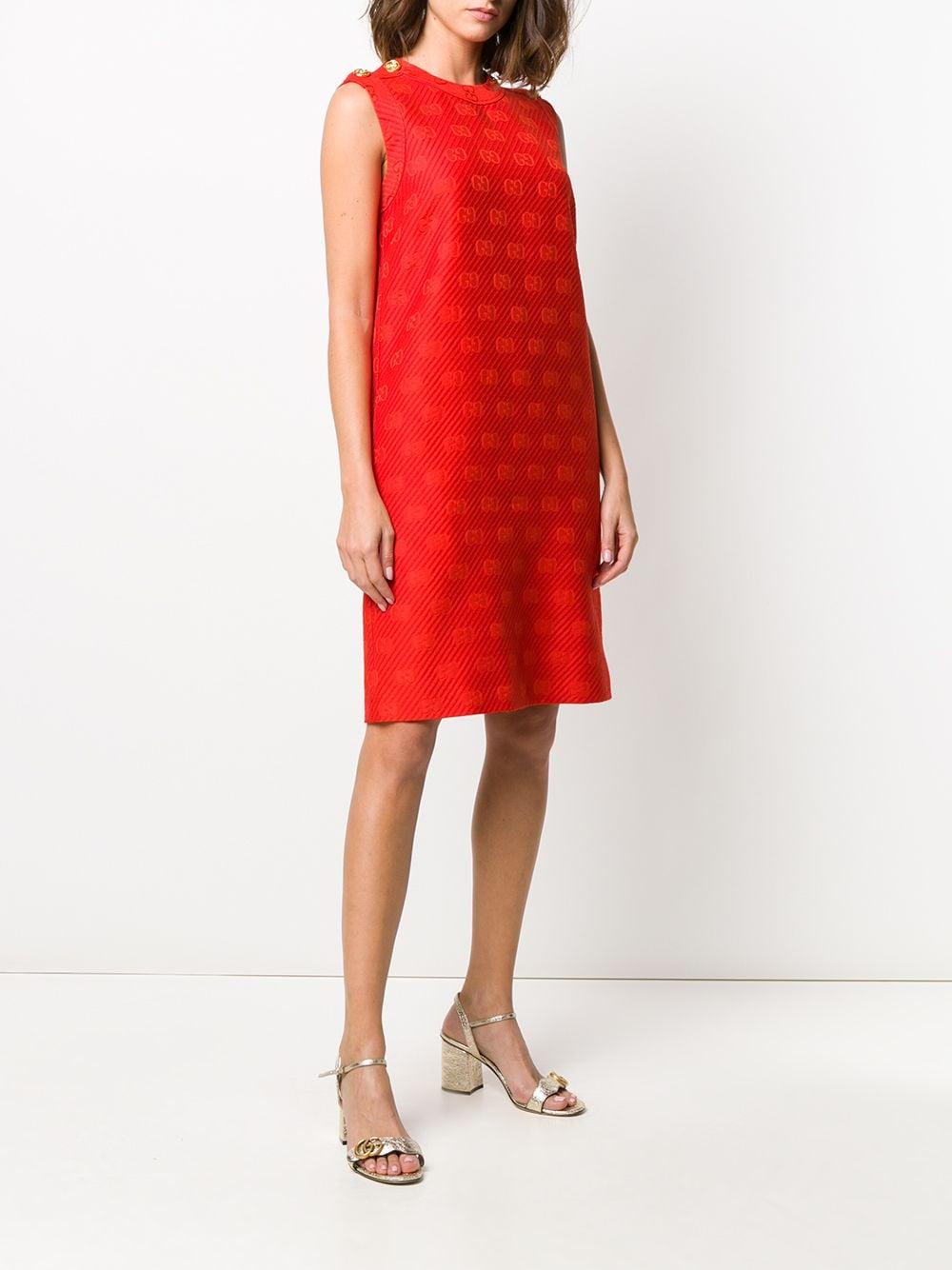 abito rosso in lana e seta con bottoni sulle spalle GUCCI | Abiti | 602723-ZADC76049