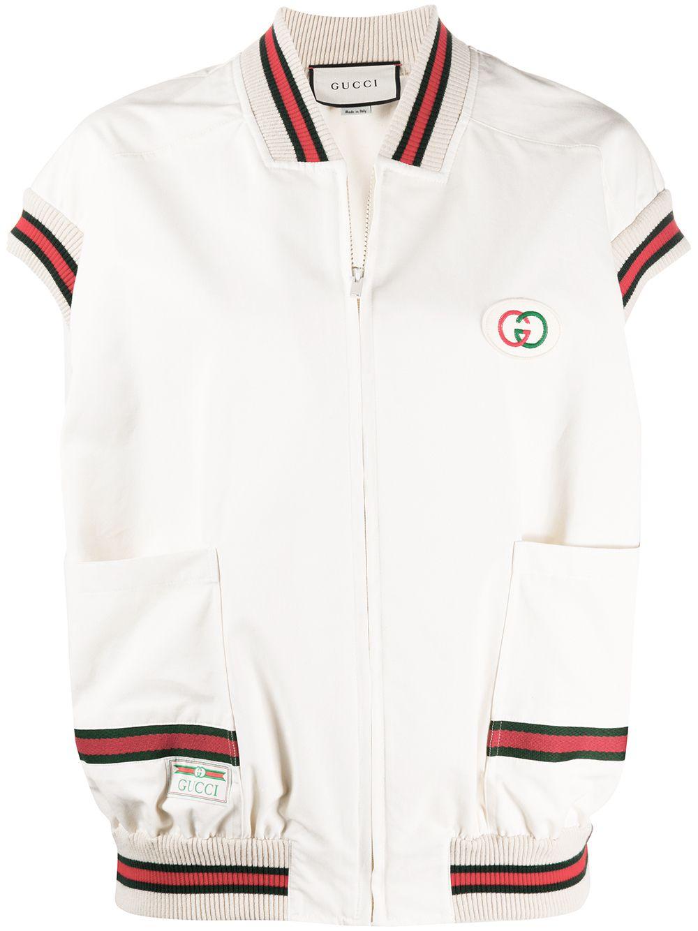 Gilet bianco con zip e bordini in stampa Web rosso/verde GUCCI | Gilet | 605591-XJCBW9381