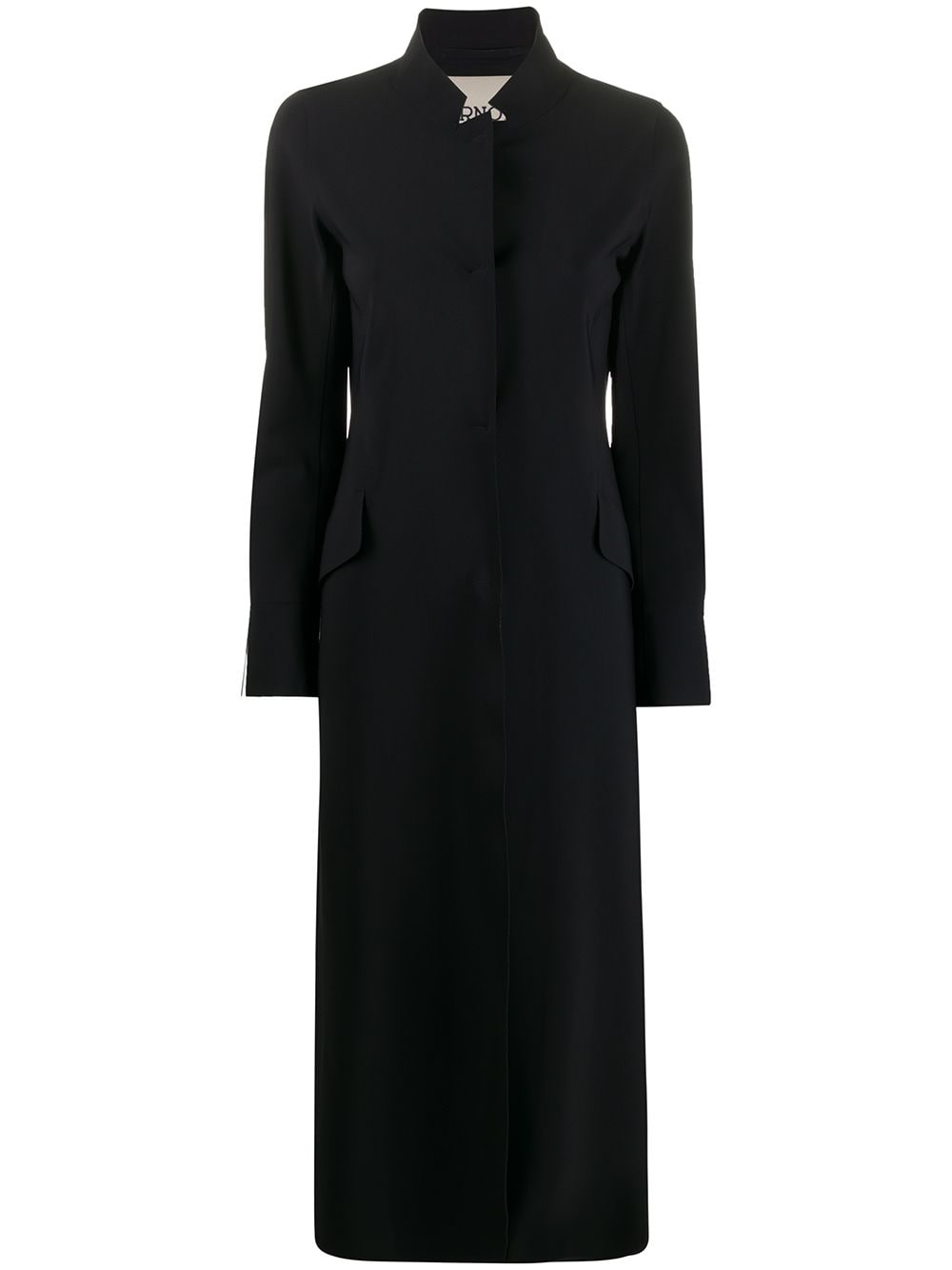 black single-breasted long coat featuring a stand up collar HERNO      CA0339D-13455S9300