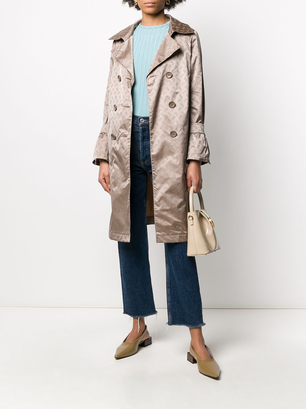 Coffee brown Herno logo print trench coat  HERNO |  | IM0121D-122892600