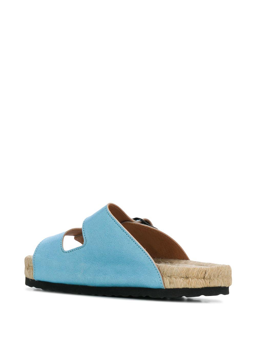 Nordic Sandals in natural jute and metallic sky blue suede  MANEBI'      O 1.5 R0CELESTE