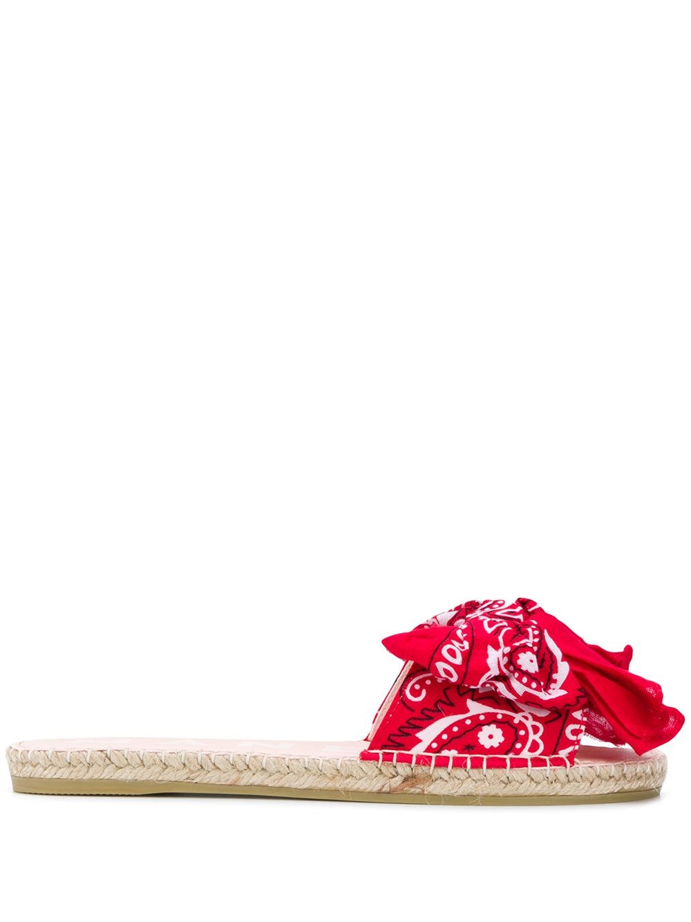 jute and cotton flat slides with red bandana print  MANEBI' |  | F 9.4 J0ROSSO