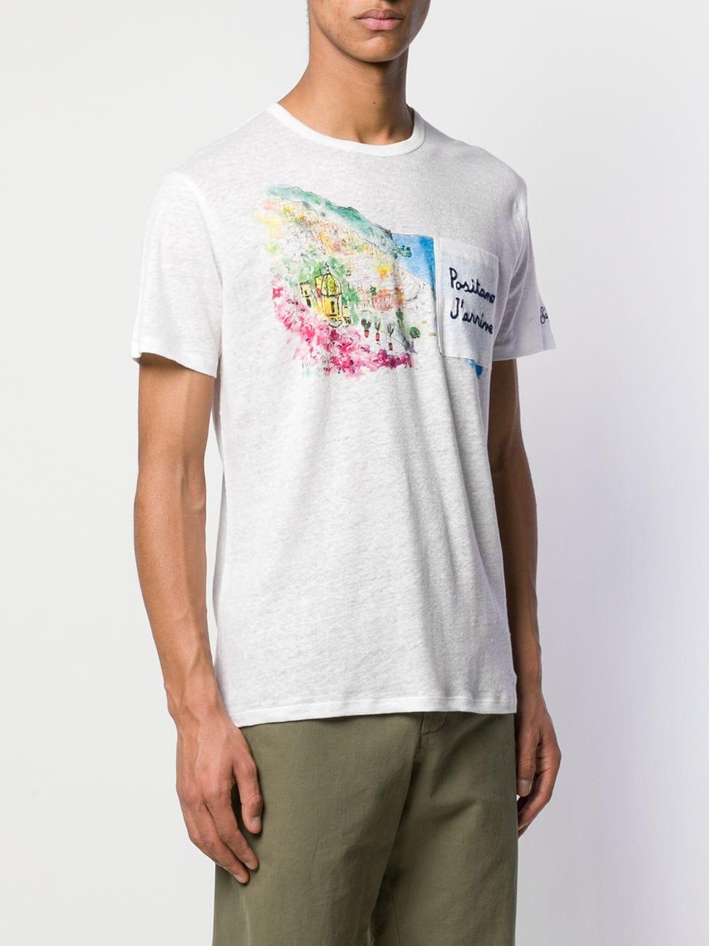 T-shirt in lino bianco con Positano ricamata MC2 | Maglieria Moda | ECSTASEA-EMB POSITANO01