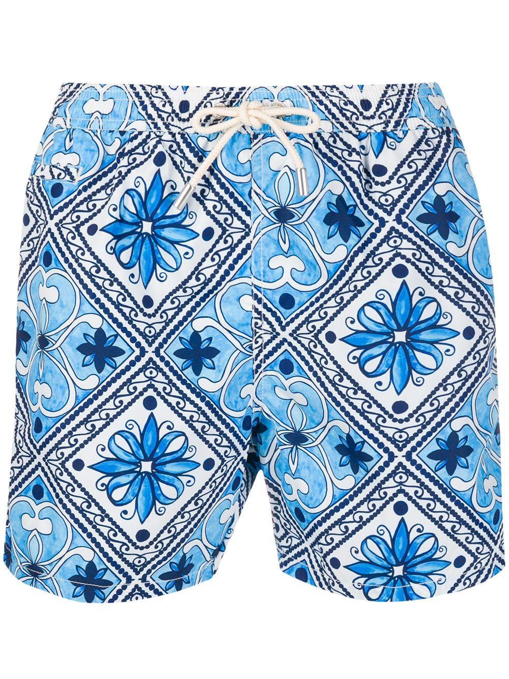 multi-coloured recycled polyester tile print swim shorts MC2 |  | LIGHTING-ITALIAN MAIOLICA01