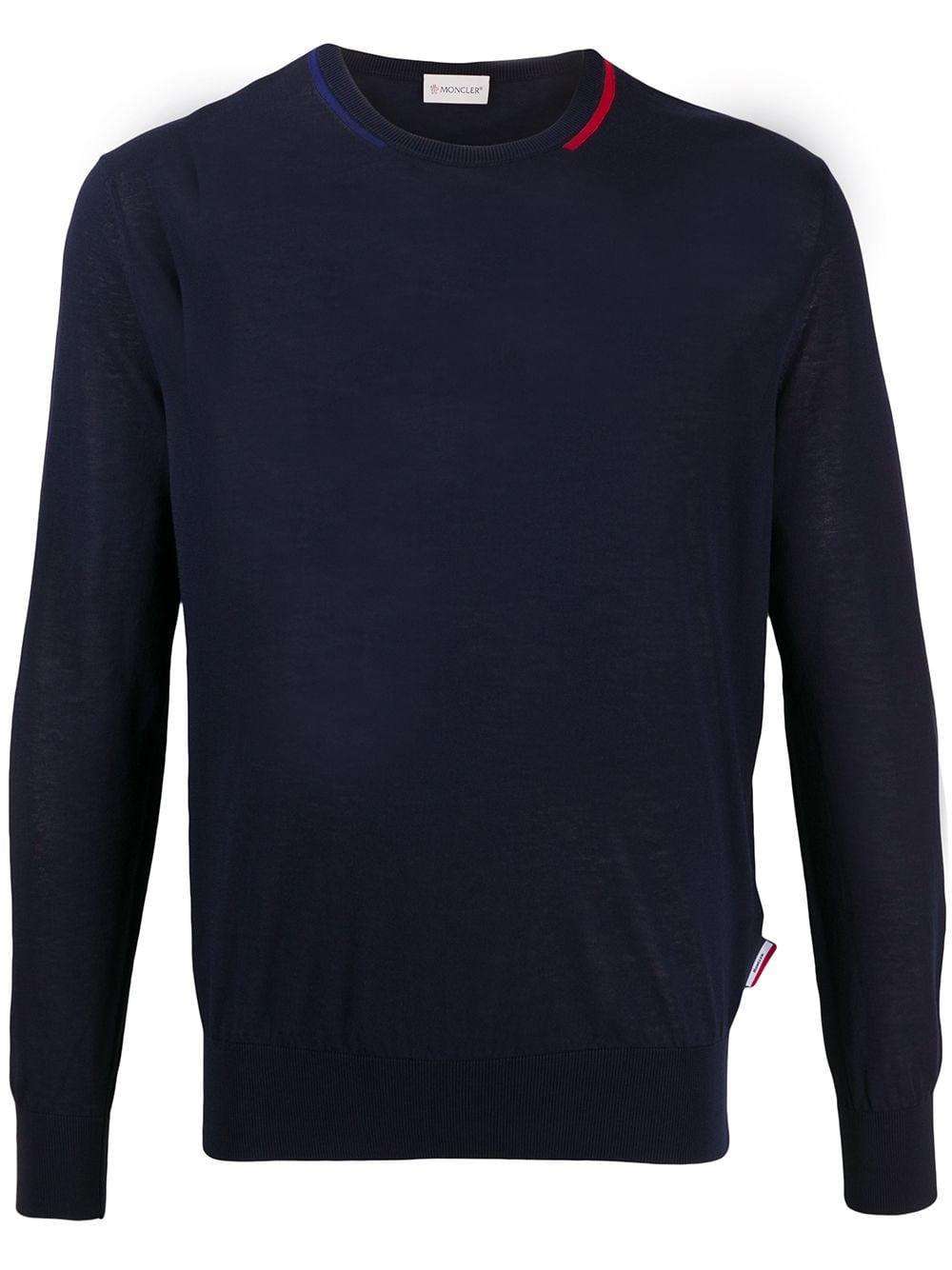 maglione leggero blu scuro con dettagli rossi a contrasto MONCLER | Maglieria Moda | 9C709-00-V9121779