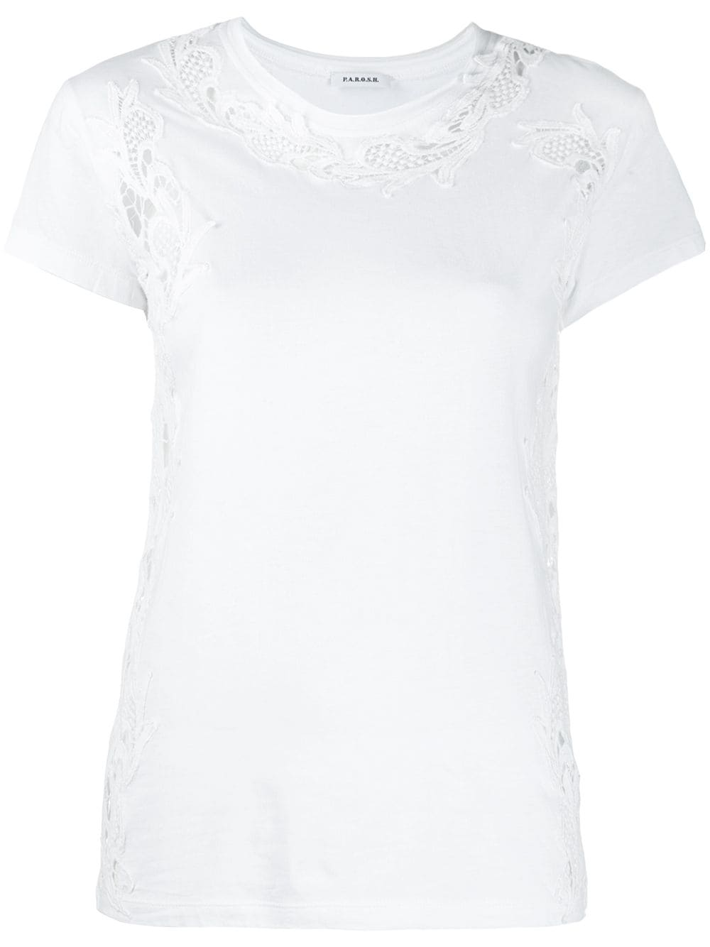 White cotton t-shirt featuring an embroidered design P.A.R.O.S.H. |  | D110621-COLACE001