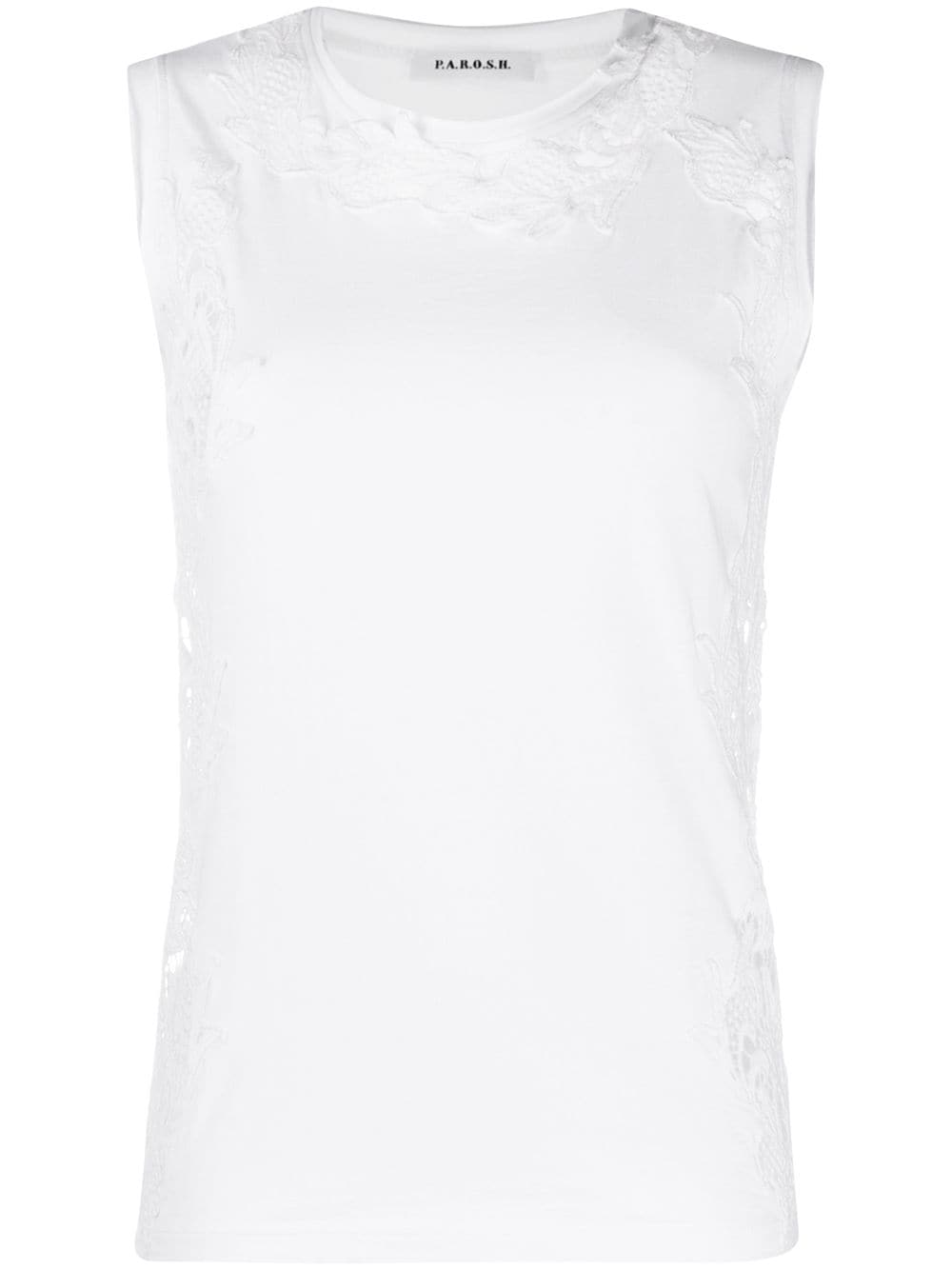 White cotton lace embroidery tank top  P.A.R.O.S.H.      D150564-COLACE001