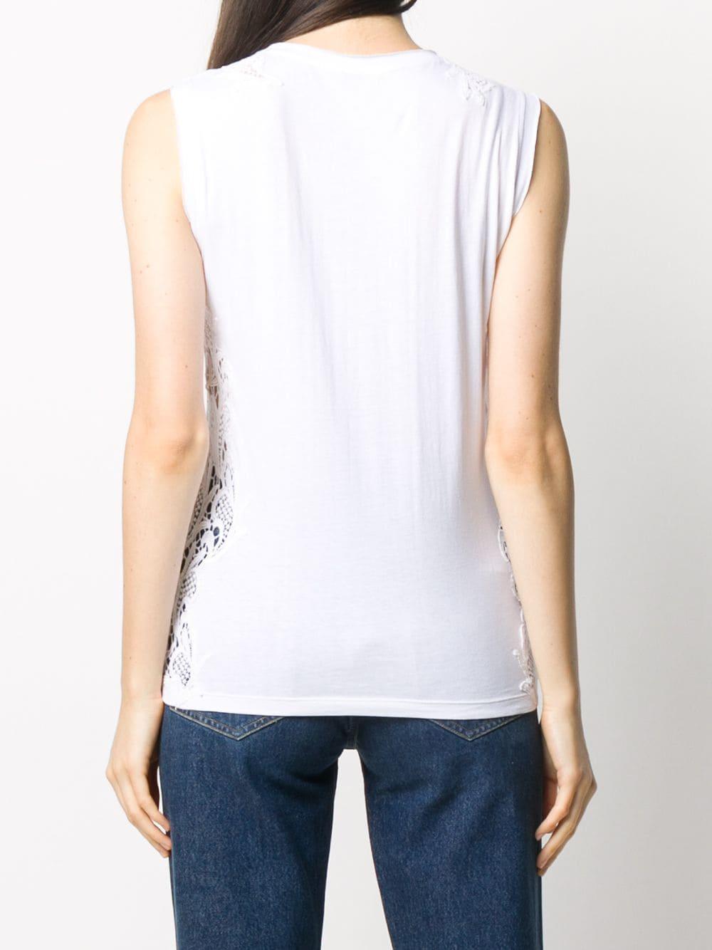 Canotta ricamata in pizzo di cotone bianco con vestibilità slim P.A.R.O.S.H. | Maglieria Moda | D150564-COLACE001