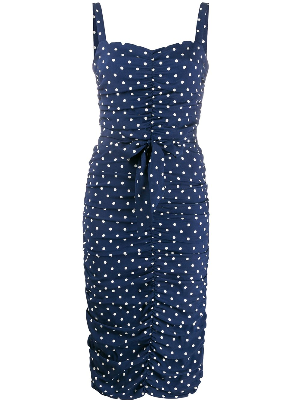 Midnight blue stretch silk polka dot print dress   P.A.R.O.S.H. |  | D723076-SOIS812
