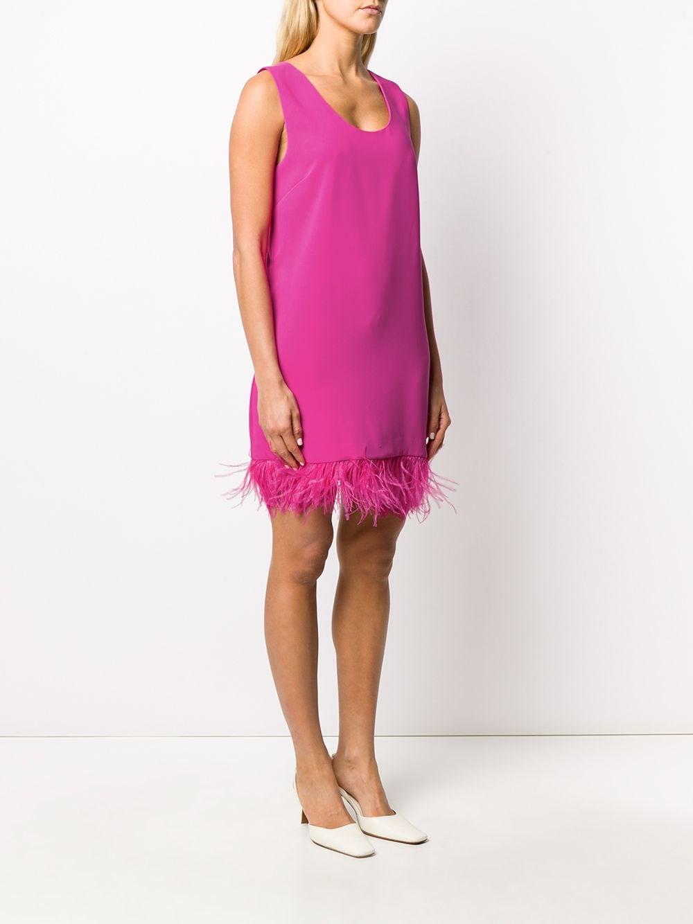 Fuchsia feather trimmed mini dress  P.A.R.O.S.H. |  | D723198P-PANTERS042
