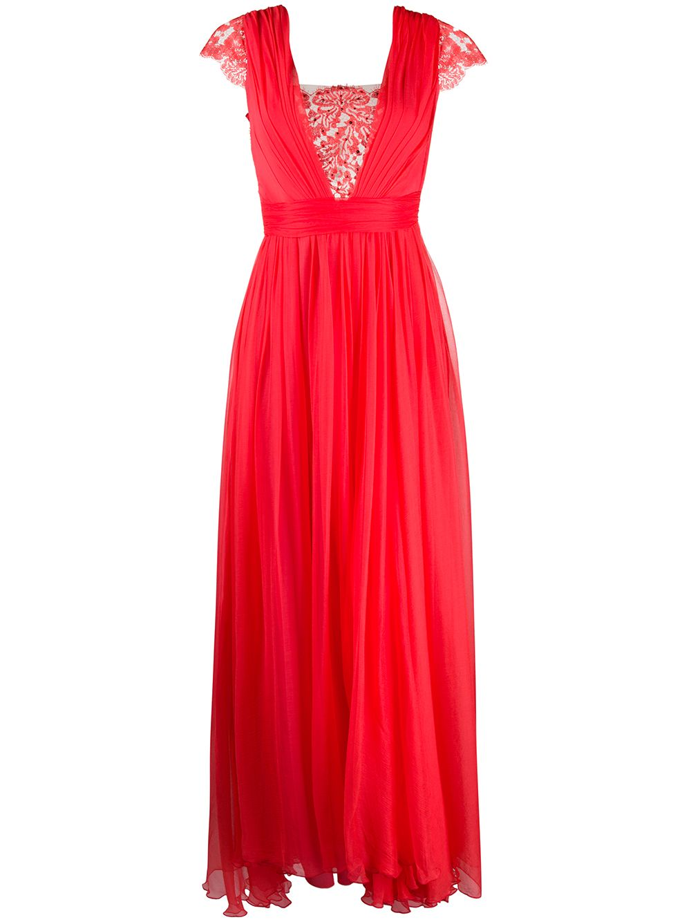 Bright-red maxi dress featuring a pleated design RHEA COSTA |  | 20208DCORAL