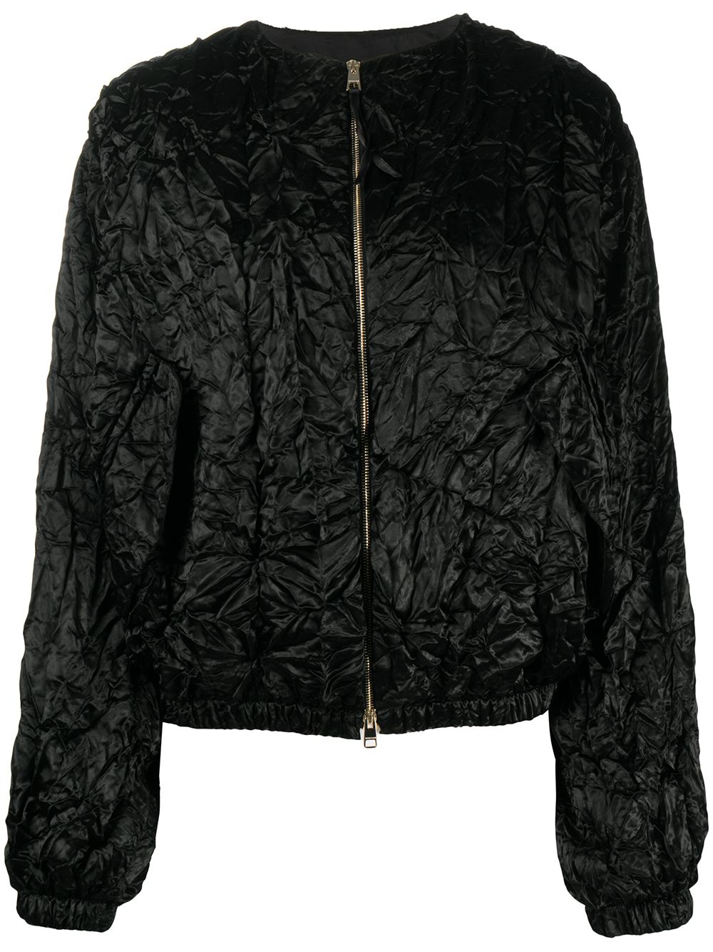 Black silk and wool crumpled-effect bomber jacket  Rochas |  | ROPQ420266-RQ290200001
