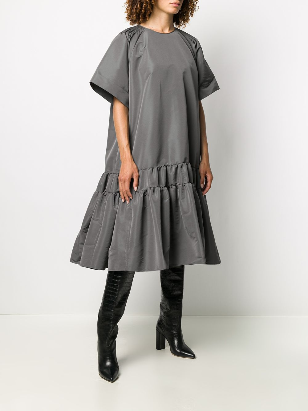 Grey flared midi dress featuring flared design Rochas |  | ROPQ501832-RQ440800035