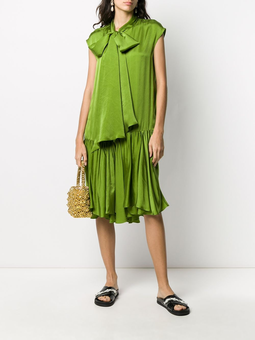 Lime green straight fit dress featuring a pussy bow fastening ROCHAS      ROWQ506826-RQ360100310