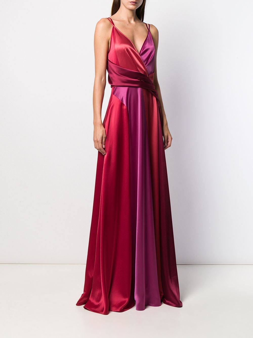 Red and pink Solberg gown featuring a v-neck TALBOT RUNHOF      SOLBERG5-WT23369