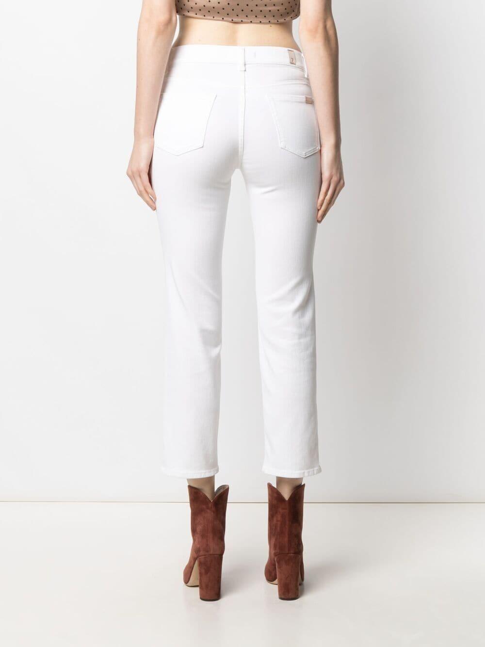 Jeans cropped The Straight in misto cotone bianco a vita alta 7 FOR ALL MANKIND | Pantaloni | JSYXB660PD-STRAIGHT CROPWHITE