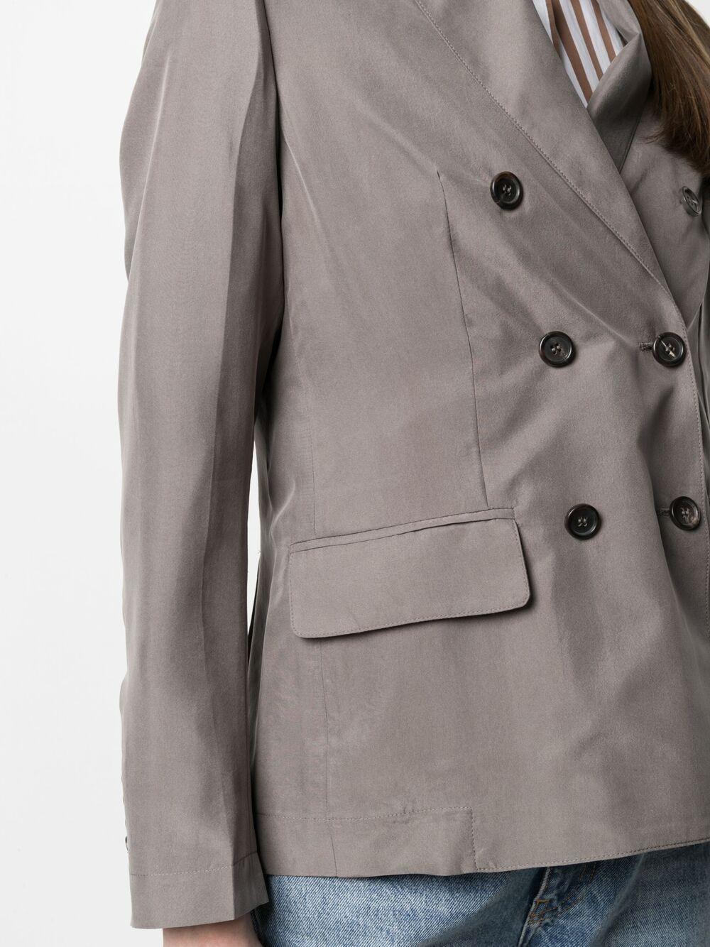 Fango grey silk double-breasted blazer  A.B. |  | ABG003-V1211240