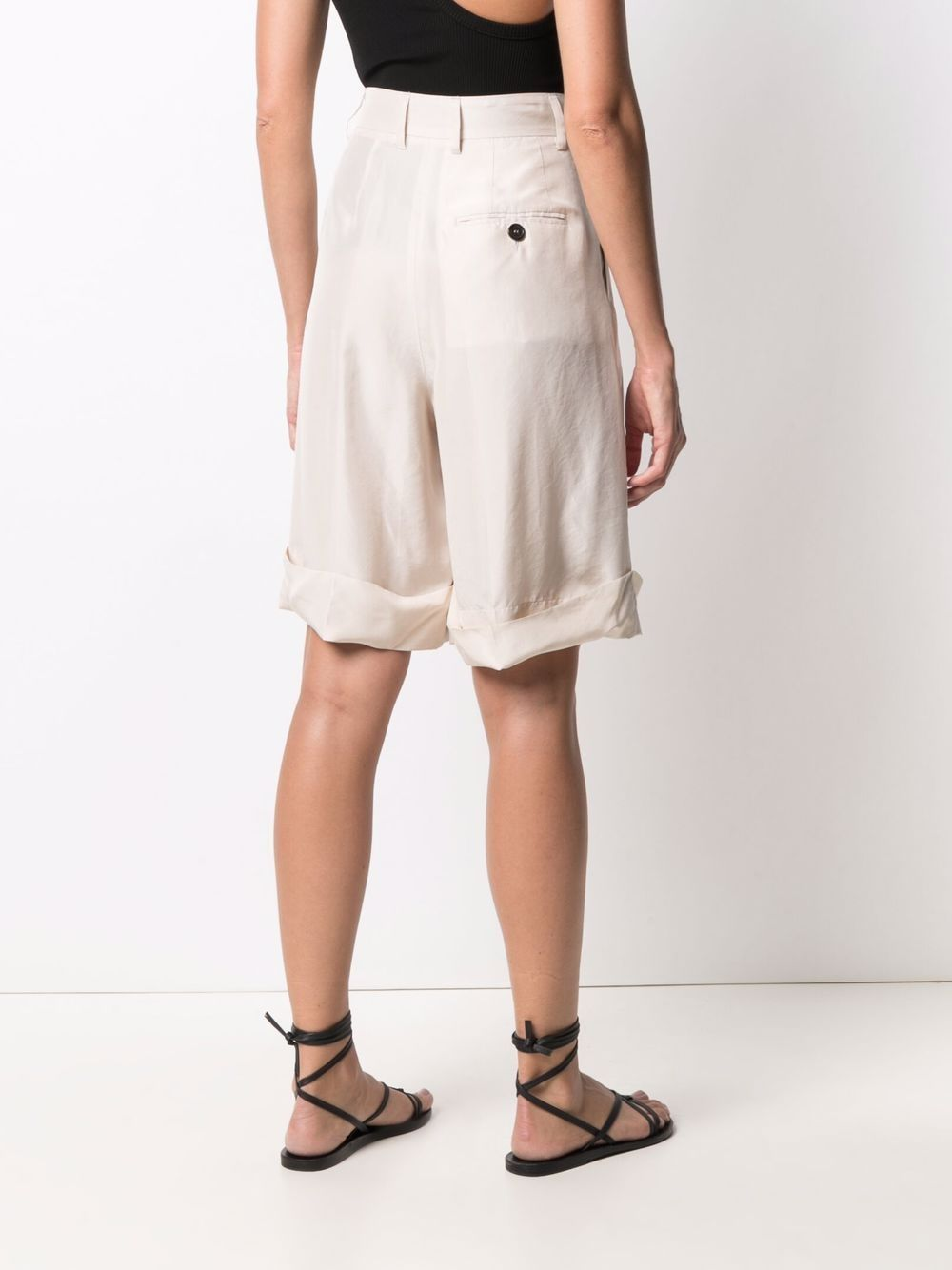 Beige silk knee length shorts  A.B. |  | ABH001-V1211220