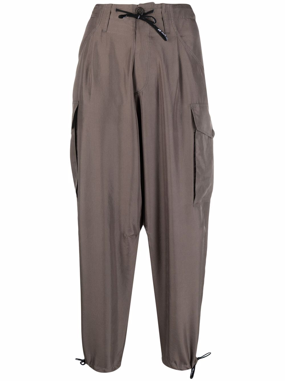 Grey silk drawstring tapered trousers featuring paperbag waist A.B. |  | ABP020-V1211240