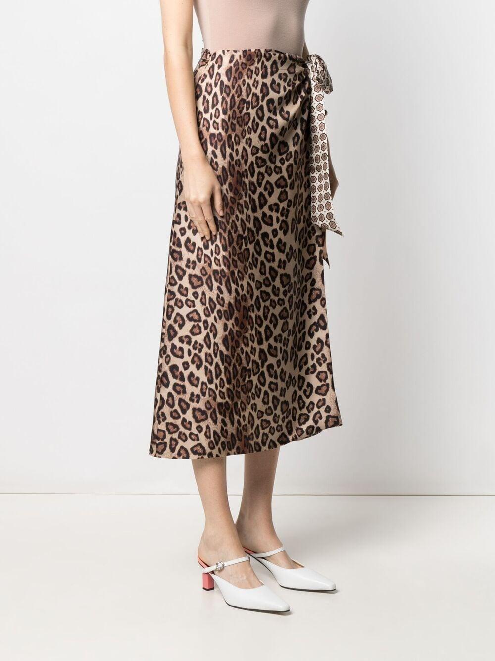 Gonna midi in seta con stampa leopardata ALBERTO BIANI | Gonne | AV828-SE310666